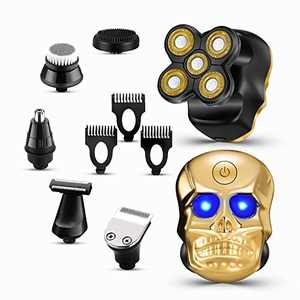 Electric Shaver 6 in 1 Bald Head Shaver 5D Electric Rotary Razor for Men Waterproof Wet & Dry Beard Trimmer Nose & Ear Trimmer Multifunctional Grooming Kit Cordless USB Rechargeable