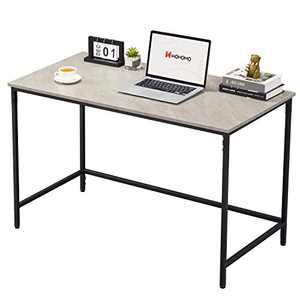"WOHOMO Small Computer Desk 39"" Simple Modern Style Study Desk for Home Office, Snap Metal Frame Wood Work Desk Easy Assembly, Gray Marble"
