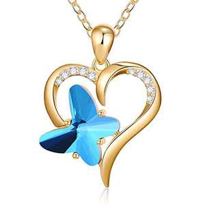 Heart Butterfly Necklaces for Women, Crystal Blue Butterfly Pendant Necklace Butterfly Jewelry Gifts, Dainty 14K Gold Plated Heart Butterfly Charm Necklaces for Women