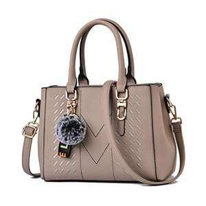 Khaki Purses and Handbags for Women Fashion Ladies PU Leather Top Handle Satchel Shoulder Tote Bags