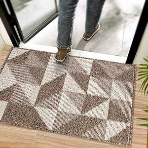 Indoor Doormat 20x32 Brown - Absorbent Front Back Door Mat - Non Slip Resist Dirt Entrance Rug Carpet - Machine Washable Low Profile Floor Mats