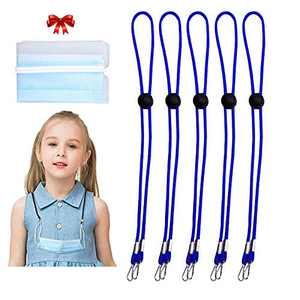 Adjustable Lanyard, Face Lanyards Strap Chain Holder Necklace Lanyard for Face, Adjustable Length Face Lanyards for Women Men Glasses Strap Holder with Portable Clip for Storage (Blue, 5pcs)