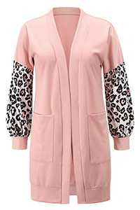 MYIFU Women's Open Front Knit Cardigan Classic Color Block Long Sleeve Outerwear with Pockets Pink