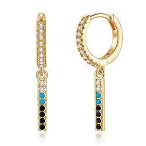 S925 Sterling Silver Post Bar Earrings, CZ Bar Dangle Gold Huggie Hoop Earrings for Women, 14K Gold Plated Cubic Zirconia Hoop Earrings with Charm Huggie Earrings for Women Jewelry Gifts