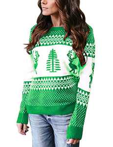 Cogild Women's Ugly Christmas Sweater,Pullover Sweaters Pattern Xmas Tree and Reindeer Long Sleeve Crew Neck Knit Jumper Green