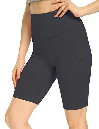IOJBKI Workout Yoga Shorts for Women High Waist Tummy Control Compression Exercise Running Biker Shorts with Pockets(CL110-Grey-XXL
