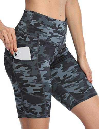 IOJBKI Workout Yoga Shorts for Women High Waist Tummy Control Running Biker Shorts with Pockets(IU311-Grey Camouflage-L)