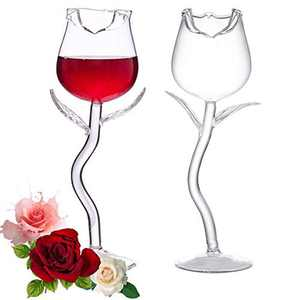 BSSN Red Wine Glasses Set of 2,Crystal Rose Goblet,Personalised Wine Glass,Good Gift for Birthday Party Wedding Festival Anniversary