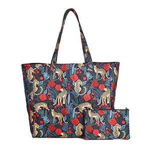 Expandable Shoulder Bag Extra Large Handbag for Women with Small Purse Multipurpose Travel Tote Beach Canvas Bag, Floral