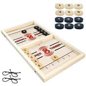 Fast Sling Puck Game Large Size, Wooden Foosball Winner Board Game Slingshot Game Toys Table Desktop Battle 2 in 1 Ice Hockey Game, Parent-Child Interactive Chess for Kids & Adults at Family/Party