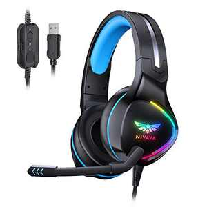 Nivava K12 USB Gaming Headset for PC, PS5, 7.1 Surround Sound PS4 Headset with Noise Cancelling Microphone, Over-Ear Headphone with Soft Memory Earpads RGB LED Lights for Computer Laptop Mac