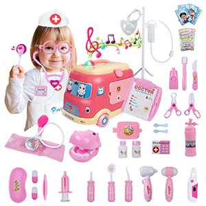 UNIH 45 Pieces Doctor Kit for Kids Toy Pretend Dentist Medical Toy Kit with Electronic Stethoscope Doctor Role Play Dress-Up Toddler Toys for Age 2 3 4 5 6 7 Year Kids
