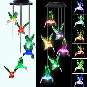 Darknessbreak Solar Hummingbird Wind Chime Gifts for Mom, Color Changing Solar Mobile Wind Chimes for Grandma,Solar Christmas Lights Outdoor for Mother's Days,Patio,Outdoor Garden,Women Birthday.