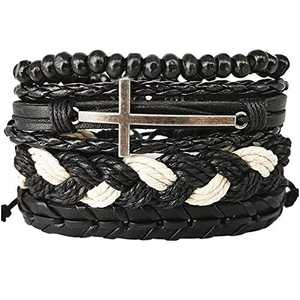 Mens Bracelet Set Leather Braided Beads Pack Adjustable Cross