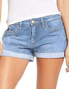 onlypuff High Waisted Denim Shorts Cute High Rise Jean Shorts for Women Light Blue L
