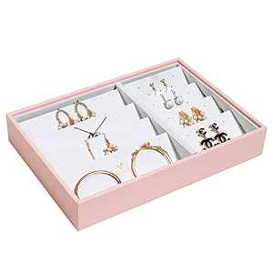 Vee Stackable Jewelry Tray, Multipurpose Necklace Jewelry Storage Organizer for Jewelry Display (Pink)