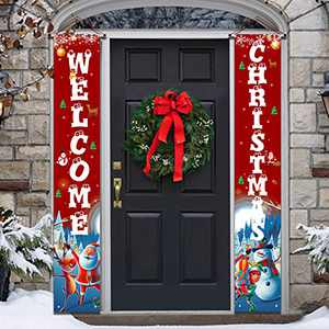 YUFOL Christmas Decorations for Home Christmas Banner,Hanging Christmas Door Decorations Porch Sign for Front Door Welcome Christmas Banners - Flags Red Xmas Decor…