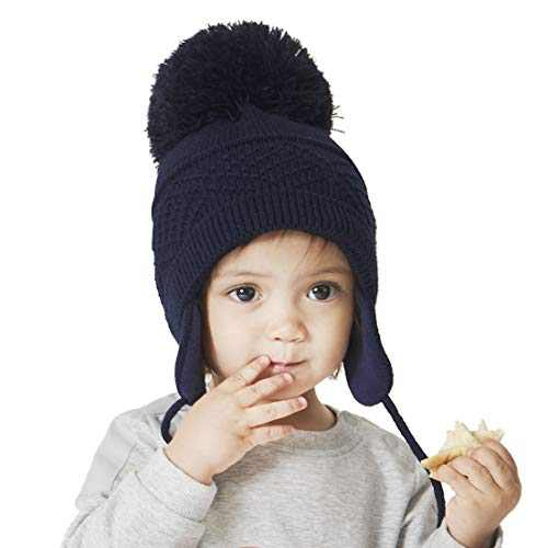 KPWIN Baby Winter Knitted Hat Toddler Kids Hat with Earflap Infant Pom Beanie Hat Warm Fleece Lined Knit Cap for Boys Girls Navy