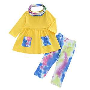 Kids Toddler Baby Girl Outfits Long Sleeve Ruffle T-Shirt Top Dress Tie Dye Pants Scarf 3PCS Fall Spring Clothes Set (A-Yellow, 2-3T)