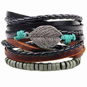 Mens Bracelet Set Leather Braided Beads Pack Adjustable Aqua