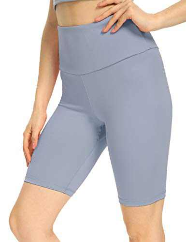 IOJBKI Workout Yoga Shorts for Women High Waist Tummy Control Compression Exercise Running Biker Shorts with Pockets(CL110-Light NB-M)