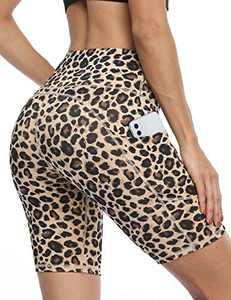 IOJBKI Workout Yoga Shorts for Women High Waist Tummy Control Running Biker Shorts with Pockets(IU311-Yellow Leopard-L)