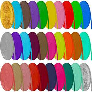 30 Rolls Braided Elastic Bands Multi-Color Elastic Rope Elastic Cord Heavy Stretch Strap Cord Elasticity Knit Flat Elastic Band for Headband Shoelace Wig (Bright Colors,1/8 Inch Wide 120 Yard Long)