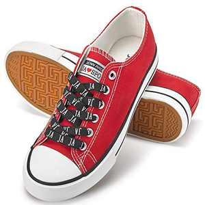 JENN ARDOR Women's Casual Low Top Fashion Sneakers Flats Slip on Classic Footwear Walking Canvas Shoes Red
