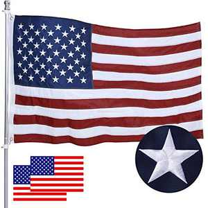 intbag American Flag 4X6 FT 40 Grade UV Protected/Fade Resistant USA Flags with Embroidered Stars Sewn Stripes Brass Grommets,Long Lasting Durable Polyester US Flag for Outdoor Office