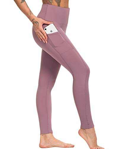 High Waisted Yoga Pants Tummy Control Squat Proof Athletic Workout Leggings with Pockets for Women(PY010-Purple-M)