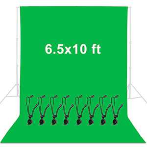 YICOE 6.5 x 10 ft Green Screen Backdrop Wrinkle-Resistant Backdrop with 8 Backdrop Clip, Polyester Fabric Collapsible Chromakey Green Backdrop Background for Photo Video Studio, Photography