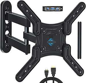TV Wall Mount Bracket for Most 28-55 Inch TVs, BLUE STONE Full Motion Tilt TV Bracket with Swivel Articulating Arm, Max VESA 400x400mm and 66 lbs, TV Mount with Center Design