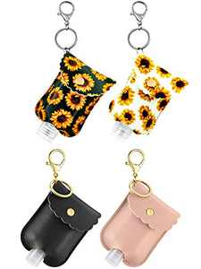 Empty Bottle and Leather Keychain Holder - Refillable Travel Sized Keychain Carriers with Flip Cap Reusable Bottles - 60 ML Refillable Bottles for Soap, Lotion, and Liquids (Leather 4)