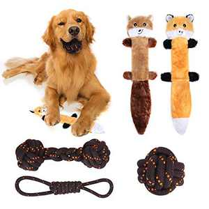 VNICE Dog Squeaky Toys,3 Nearly Indestructible Cotton Rope Chew Toys 2 No Stuffing Fox Raccoon Set Plush Squeaky Toys for Small Medium Large Aggressive Chewers(Brown)