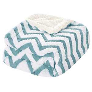 HOMEIDEASSherpa Blanket for Couch/Sofa Warm Soft PlushFleece Blanket Throw Size 50X61 Inches Wave Pattern Jacquard Weave Dual Sided Fuzzy Blanket for All Season, Blue and White