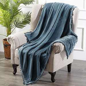 HOMEIDEAS Flannel Fleece Twin Blanket with Tassels Fringe 61X80 Inches Super Soft Blanket Cozy Microfiber Lightweight Warm Blanket for Sofa Couch for All Season, Stone Blue