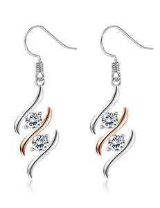 Sllaiss 925 Sterling Silver CZ Dangle Earrings for Women Austrian Cubic Zirconia Wave Drop Earrings Rose Gold Plated jewelry