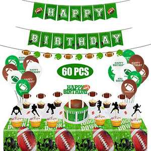Football Theme Birthday Party Supplies Set Decorations Kits,Football Bar Birthday Banner,Balloons,Socket Cupcake Toppers,tablecloth,Gold Flat Ribbon for Kids Boys Teenagers Sport Party Supplies 60pcs