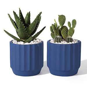 POTEY Cement Indoor Plant Pots - 4 Inch Medium Planter Flower Containers Clay Modern Decorative with Drain Hole - Set of 2 Navy, Unglazed 202223