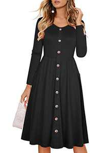 Lamilus Fall Dresses for Women Casual Long Sleeve V-Neck Button Down Midi Dress with Pockets (L,Black-long-L026)