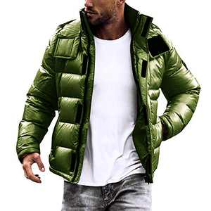 Pretifeel Mens Puffer Down Jacket Waterproof Quilted Removable Hood Stand Collar Winter Thermal Coat Army Green