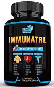 Immunatril - 16-in-1 Rapid Immune Support, with Wellness Mushrooms, Super Vitamins and Powerful Herbs (Elderberry, Echinacea, Guduchi, Goldenseal & More) - Immune System Booster (90 Veggie Caps)