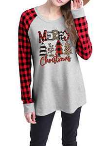 Merry Christmas Leopard Plaid Tree Shirt Tops Women Casual Long Raglan Sleeve Graphic Print T Shirt