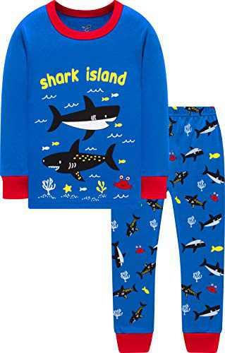 Boys Shark Pajamas Kids Children Cotton Jammies Baby Gift Clothing Set 5t