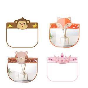 Non-medical Cute animal cartoon Kids Face Shield Reusable Washable Cute Cartoon Anti-Fog Face Covering 4pcs ./B