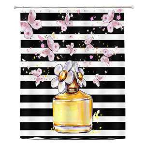 UNIBATH Modern Shower Curtain Gold Perfume Bottle and Pink Butterfly Black and White Stripe Waterproof Fabric Bathroom Decor Shower Curtains Sets with Hooks 72x72 Inches