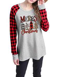 Merry Christmas Leopard Plaid Tree Shirt Tops Women Casual Long Raglan Sleeve Graphic Print T Shirt