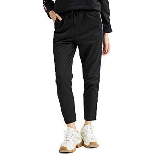 URLAZH Women's Active Pants Drawstring Workout Yoga Pants with Pocket (Black, S)