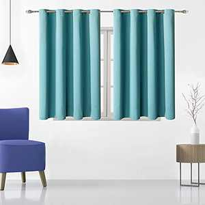 Turquoise Blackout Curtains for Bedroom 2 Panels Set,Small Window Curtains 45 inch Length Grommet Thermal Insulated Room Darkening Curtains/Drapes for Kitchen 52 by 45 Inch