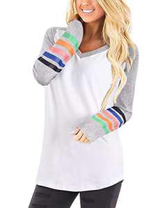 II ININ Womens V Neck Color Block Tops Stripe Long Sleeve T-Shirts Loose Fit Casual Patchwork Tunic Tops (White,L)
